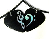 Clef Heart Guitar Pick Necklace Set, black & holo silver, music lover pair