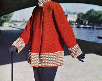 Ladies  Swing Coat 1950 pdf Vintage Knitting Pattern Instant Download Paris Styled Jacket