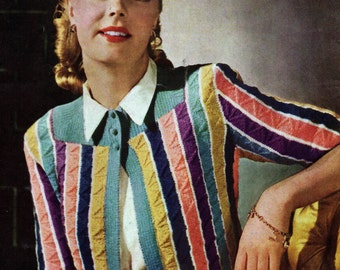 1940s Bolero in Jolly Stripes Pdf Vintage Knitting Pattern Cardigan Jacket