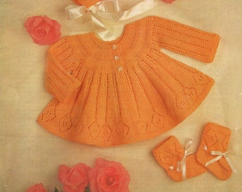 Babies Angel Jacket  Matinee Set Pdf Vintage Knitting Pattern Bonnet Bootees  Instant Download