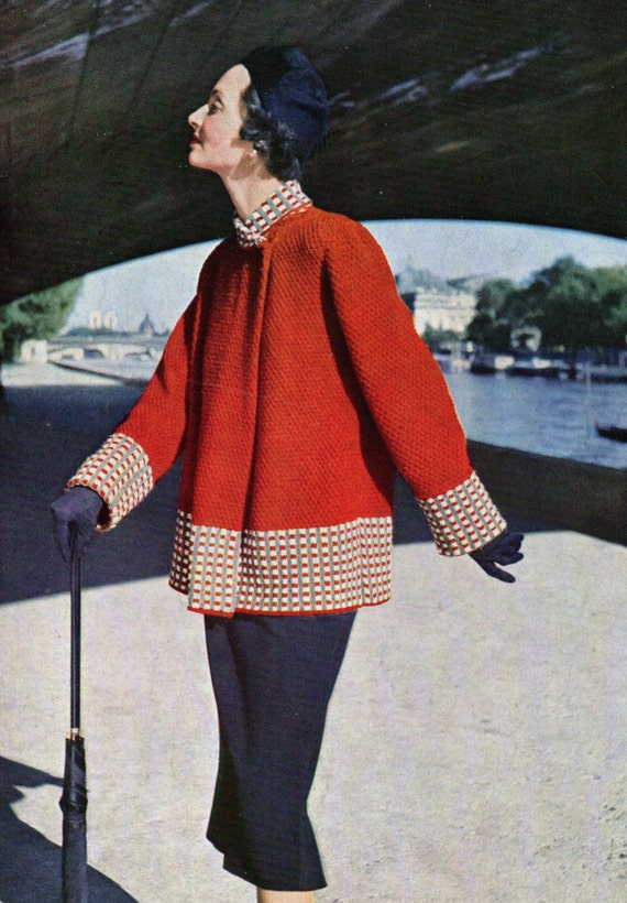 Knitting Pattern Swing Jacket : Ladies Swing Coat 1950 pdf Vintage Knitting Pattern Instant