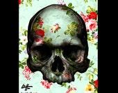 "Print 8x10"" - Skull  - Skeleton Macabre Dark Art Horror Gothic Bones Taxidermy Roses Zombie Surreal Fantasy Lowbrow Pop Flowers Pop Art"