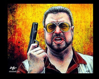 "Print 8x10"" - Am I the only one around here who gives a shit about the rules - The Big Lebowski Walter Sobchak The Dude Abides Pop Art Guns"