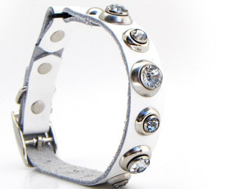 Clean White Leather Cat Collar with Clear Crystal Rivets, Eco-Friendly, Size to fit a 8-10in Neck, OOAK