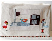 Made to Order Felt Applique Birdie Bird Sewing Large Machine Cover
