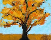 COTTONWOOD TREE - New Mexico - Orange, Yellow - Original Oil Painting - Honeyscolors - Landscape - 10 x 9 1/4 - Texture - Southwest - South