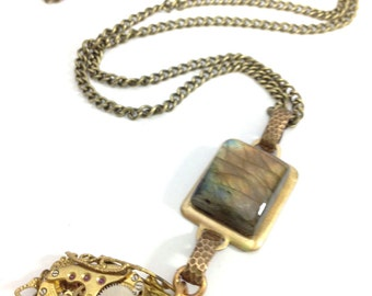 Golden Labradorite  , Steampunk Gemstone Necklace, Labradorite,  Steampunk Necklace, Steampunk , Steampunk Jewelry, Victorian One of a Kind