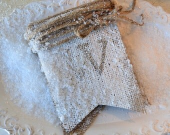 WINTER...Tarnished Silver Glittered Burlap Banner Pennant Bunting