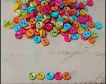 100 pcs Tiny Round Buttons Mixed Color Supply - Blythe Dal Pullip Doll Clothes -
