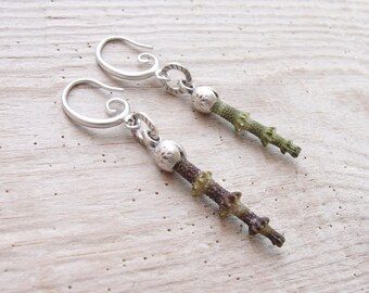 Green Sea Urchin Spine Earrings