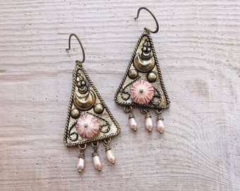 Vintage Sea Urchin Earrings - Special Pearl Dangle Earrings