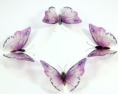 50 Lilac Purple Stick on Butterflies, Wedding Cake Toppers, 3D Wall Art, Scrapbooking, UNGLITTERED