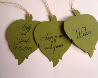50 Green Leaf Wedding Wish Tree Tags Fully Customizable