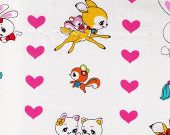 HALF YARD Honey Tune Animals and Hearts on WHITE 40383-10-  Bunny, Deer, Cat, Bear, Squirrel, Polka Dots - Lecien - Japanese