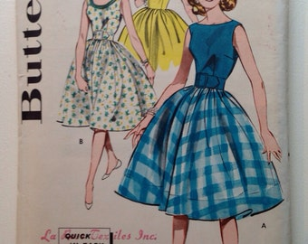 Vintage 50s Dress Sewing Patten Factory Folded Uncut Quick n Easy Full Skirted Dress 34 Bust