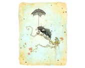 Bus Stop (Two birds under an umbrella) - Art print from original painting by Leontine Greenberg