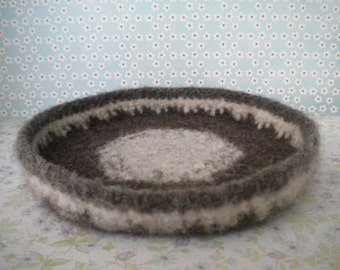 Natural Neutral Brown -  Felted Whatnot/Ring Bowl/Tray