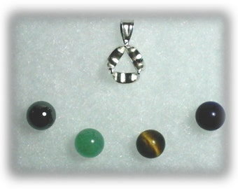 925 Sterling Silver Interchangeable Pendant Necklace With Gemstone Orbs