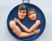 All American Couple - upcycled mixed media WALL assemblage