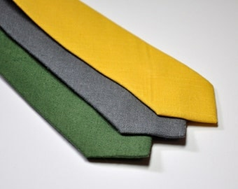 Boy's Necktie, Linen Ties, Mustard, Yellow, Green, Gray, Toddler, Baby, Boy, Teen