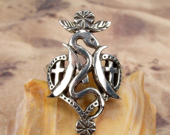 MARIE LAVEAU RING - Sterling 925 Silver Voodoo Vodou Veve Ring - Made To Order in Your Size