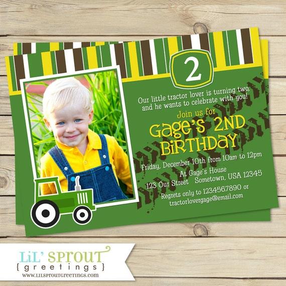 John Deere Tractor Photo Birthday Invitation By