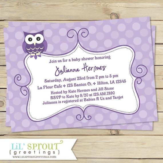 Owl purple lavender baby shower invitation like this item filmwisefo