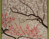 Furoshiki Fabric 'Plum Blossoms and Birdies' Cotton Japanese Fabric Square 50cm w/Free Insured Shipping