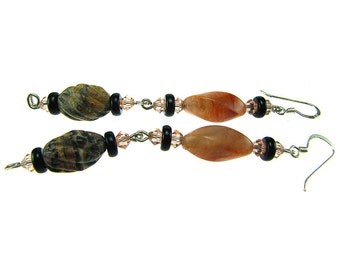 Silver Earrings Agate Unakite Onyx and Swarovski Crystal