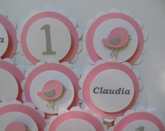Personalized 1st Birthday Bird Cupcake Toppers - Pink, Gray and White - Girl Party Decorations - Set of 12