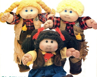 Butterick 6826 CABBAGE PATCH KIDS Cowboy Cowgirl Outfits 1980s also Issued as Butterick 339
