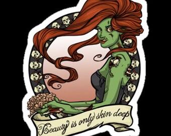 Individual Die Cut Zombie Beauty sticker (Item 01-059)