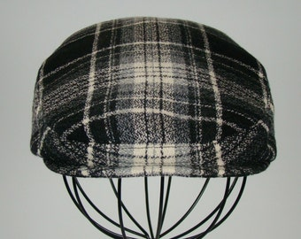 Men's Wool Hat - Golf Cap in Black Grey & Ivory Plaid Flat Jeff Cap, Ivy Cap, Driving Cap for Boys, Toddler, and Baby  - Handmade