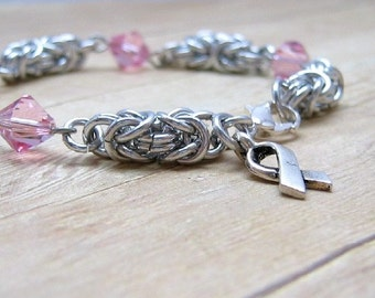 Breast Cancer Awareness Bracelet, Shiny Aluminum Chainmail Byzantine Bracelet , Chainmaille Jewellery, Pink Beaded Jewelry