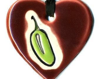 Jalapeño Ceramic Heart Necklace in Burgundy