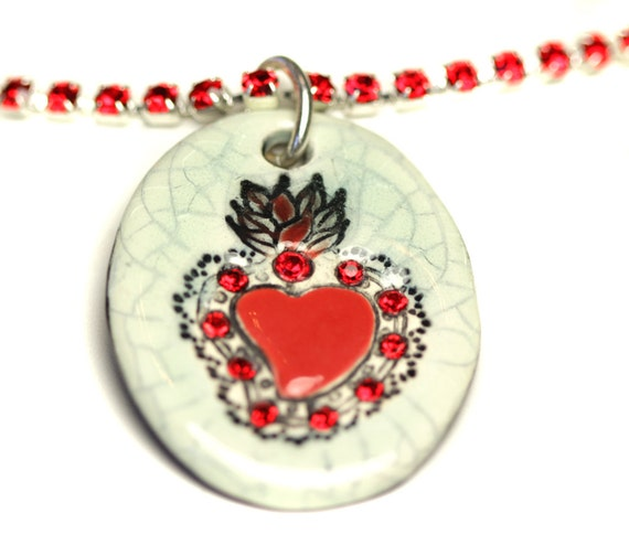 Crackle and Red Sacred Heart Sparkle Surly Necklace with Swarovski Crystals