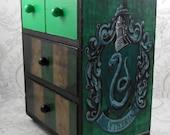 Custom Slytherin Green and Black Harry Potter Stash Jewelry Box