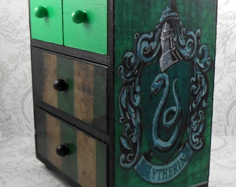 Custom Slytherin Green and Black Harry Potter Stash Jewelry Box