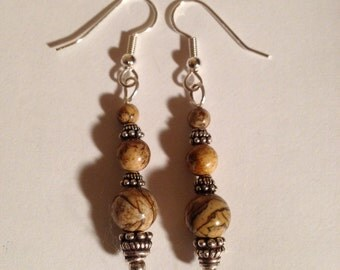 American Picture Jasper and Sterling Silver Earrings