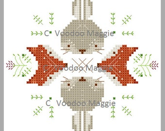 Bunnies and Foxes Cross Stitch Pattern PDF
