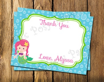 Printable Personalized Mermaid Birthday Theme Flat Thank You Note Cards
