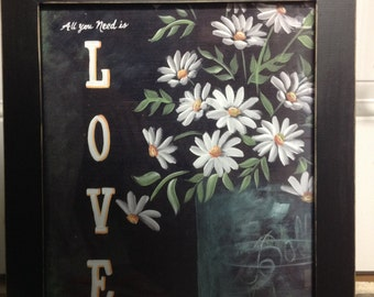 All you need is love sign framed art print daisies in vintage mason jar Trimble Crafts