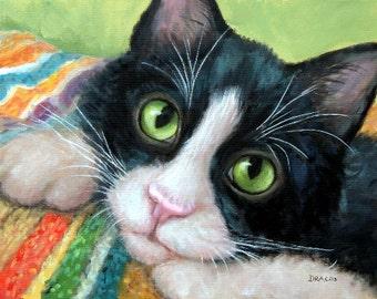 Tuxedo Cat Art Print from Original Painting by Dottie Dracos, Tuxedo Kitty Black and White Cat