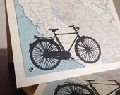 California Map and bike - 12-Pack Screen-Printed Greeting Cards