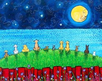 Doggy Moon, puppy, dog, full moon, childrens art Print Shelagh Duffett