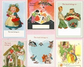 Vintage VALENTINE Bookplates - Assorted BLANK, Adorable Valentine's Day Gift, Party Favors, Book Club