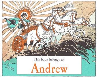 Personalized Bookplates - Apollo - Vintage Book Plates, Mythology, Boy's Book Plates