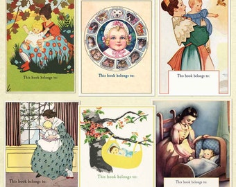 Vintage Baby Bookplates - Assorted BLANK Set - Baby Shower, New Baby, New Mommy Present