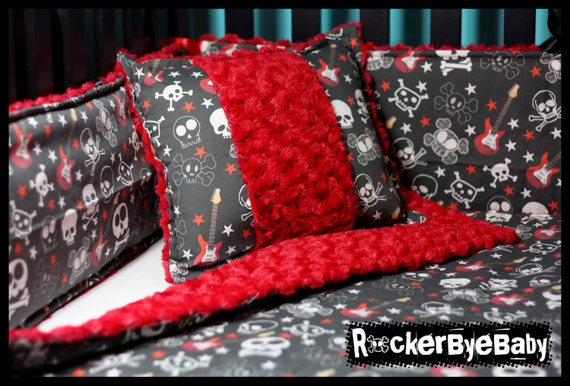 Items similar to rock star custom 4 piece punk baby crib for Rock n roll baby crib set