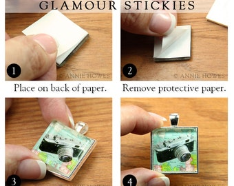 25 Pack Glass Pendant Adhesive. Easy to Use Strip. Sticky Shapes Alternative to Glaze for Pendant Trays. Dry Adhesive. Glamour Stickies.